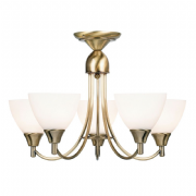 Alton 5 Light Fitting in Antique Brass with Glass Shades - ENDON 1805-5AN